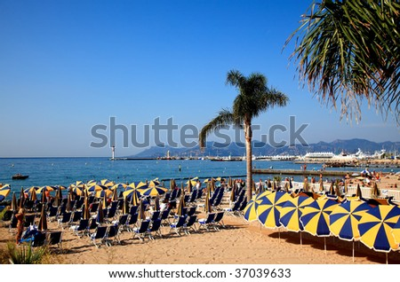 The scenery of beach in Cannes France - stock photo