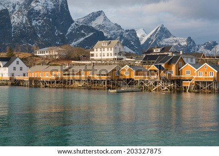 The scenery of the Lofoten Islands, close to Reine, Norway - stock photo