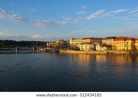 The scenery of Vltava River & Prague Castle in the Czech Republic, Prague / The scenery of Vltava River & Prague Castle