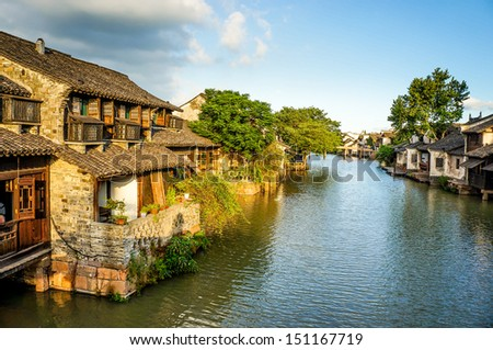 The scenery of Wuzhen, one of the Chinese ancient town - stock photo