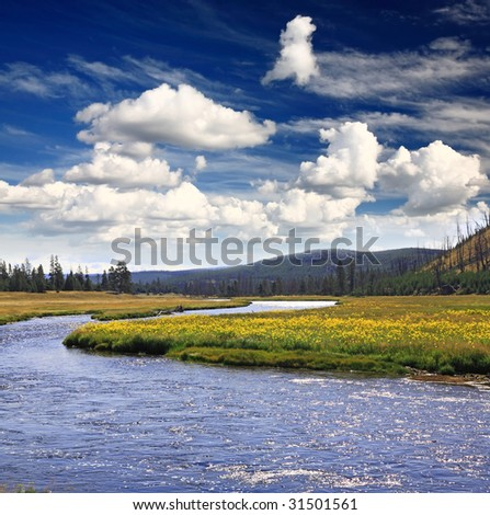 The scenery of Yellowstone National Park in Wyoming - stock photo
