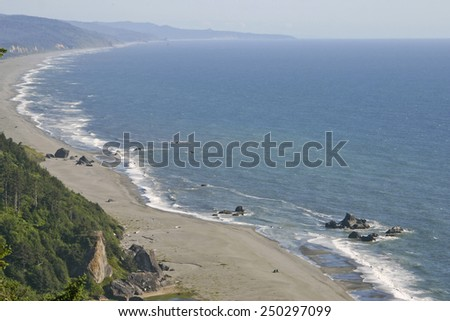 The scenic and volcanic coastline of the Pacific Northwest of the USA - stock photo