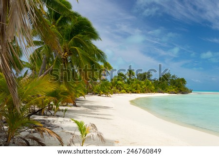 The scenic desert beach of the little Ee Island in the Aitutaki atoll, Cook Islands, South Pacific. - stock photo