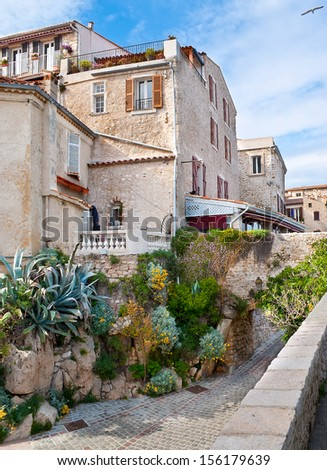 The scenic houses in Antibes, that lies on the Mediterranean sea, located between Cannes and Nice, Cote d'Azur, France. - stock photo