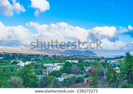 The scenic landscape of the West coast of Cyprus. - stock photo