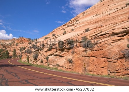 The scenic Zion Mount Carmel Highway, Zion National Park - stock photo