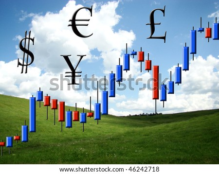 The schedule forex in the form of candles against the nature - stock photo