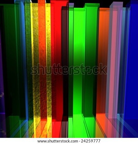 The schedule from bright glass color prisms - stock photo