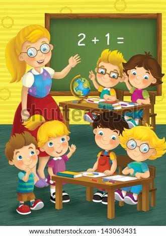 The school - education - illustration for the children - stock photo