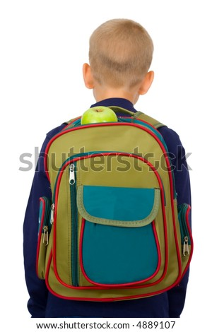The schoolboy c a backpack filled with a stationary