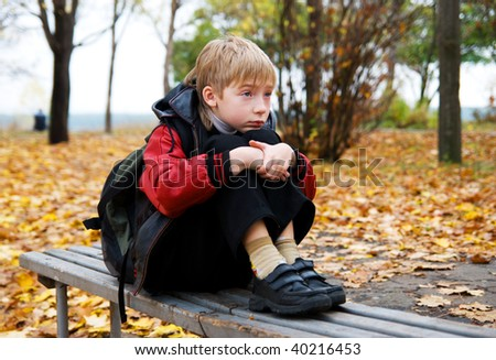 The schoolboy in autumn park - stock photo
