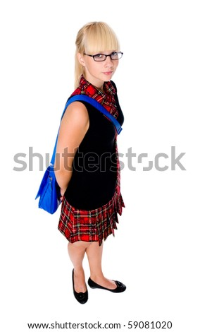The schoolgirl costs with a school bag