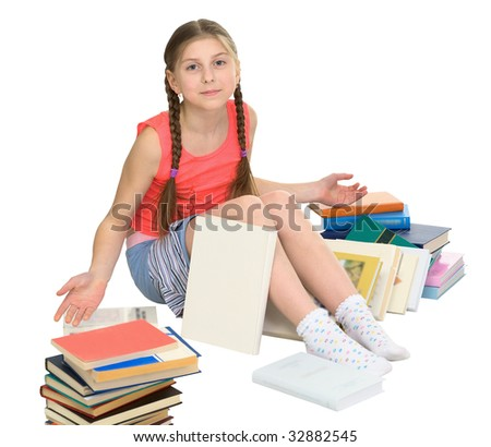The schoolgirl sits among a heap of books