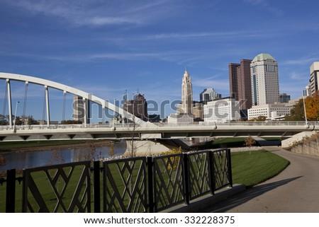 The Scioto Greenway project in columbus, Ohio revitalized the riverbank of the Scioto River - stock photo