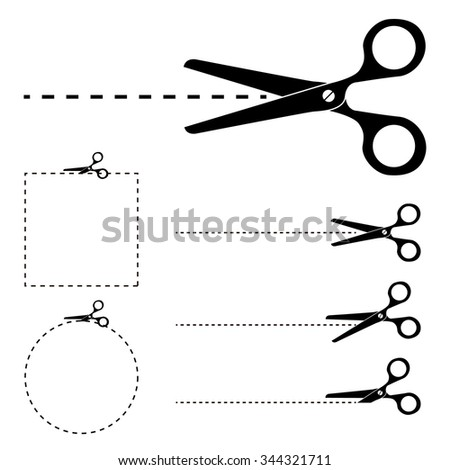 """The scissors icon. Cut here symbol. Scissors and dotted line. Cut Here Scissors. Silhouettes of  scissors with """"Cut Here"""" dashed lines. - stock photo"""
