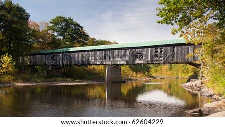 The Scott covered bridge near Townshend in Vermont - stock photo