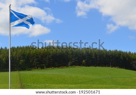 The scottish flag flying over a green hill