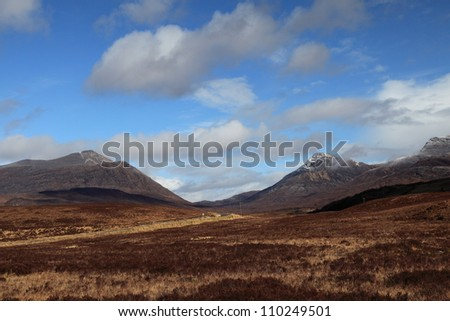 The Scottish Highlands on a clear winter's day - stock photo