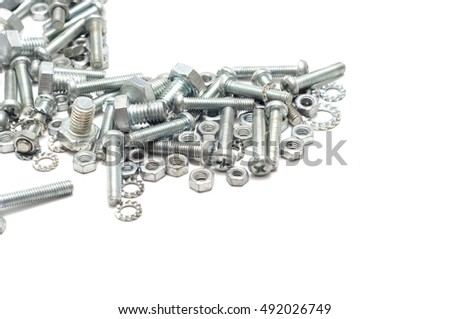 the screw, nut and bolts on white background.