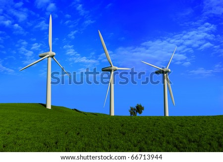 The screw of the generator of a wind on a background of green grass