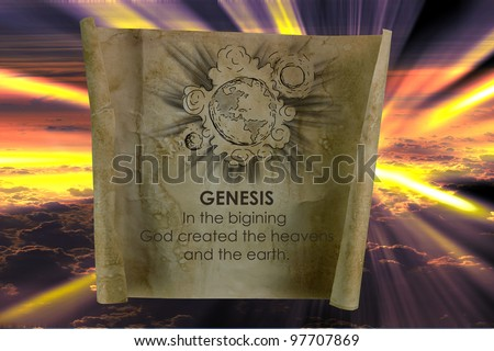 the scroll with genesis word and earth picture - stock photo