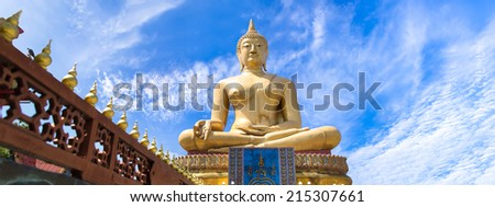 The sculpture big is creed buddhist and The atmosphere cloudy sky. - stock photo