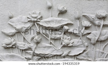 The Sculpture lotus of native thai style decorative on the wall - stock photo