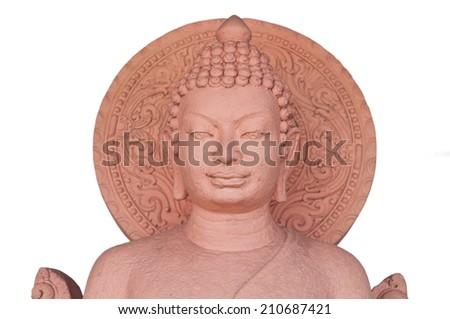The sculpture of Buddha made from stone in Thai Style