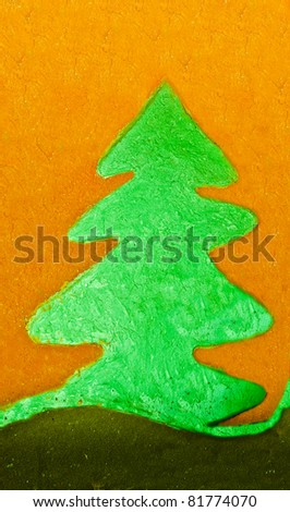 The Sculpture of pine tree on cement wall background - stock photo