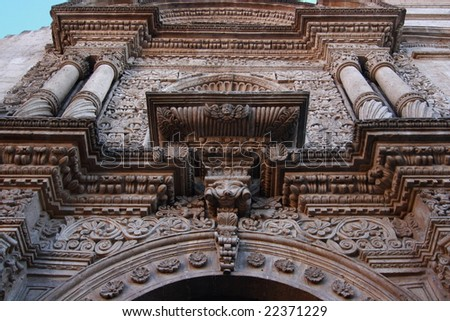 The sculpture outside Arequipa church - stock photo