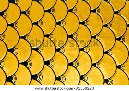 The Sculpture scales of golden dragon texture - stock photo