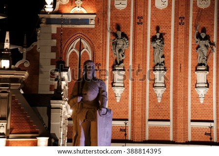 The sculptures on the facade of the Blackheads House. Riga - stock photo