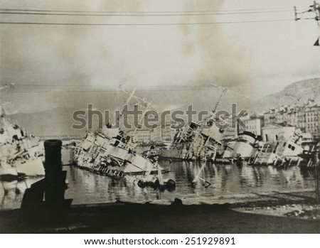 The scuttled French fleet at Toulon, Nov. 27-28, 1942. French minesweeper Chamois and two torpedo boats in Toulon harbor were destroyed by their crews on orders from the Vichy France Admiral Laborde. - stock photo