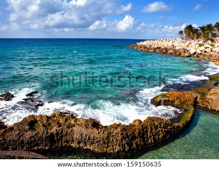 The sea coast in Xcaret park near Cozumel, Mexico  - stock photo