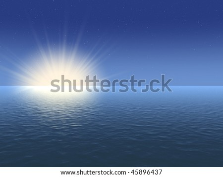 The sea, moon and stars - stock photo