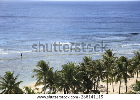 The sea of Guam - stock photo