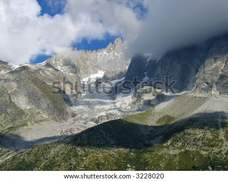 The Sea of Ice - Mont Blanc - France - The Alps. - stock photo
