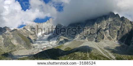 The Sea of Ice with cloudy sky - Mont Blanc - France - The Alps. - stock photo