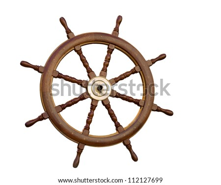 The sea steering wheel isolated on the white. - stock photo