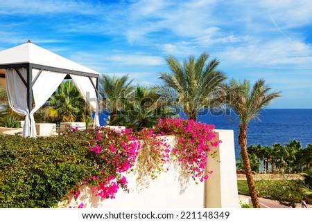 The sea view hut at luxury hotel, Sharm el Sheikh, Egypt - stock photo