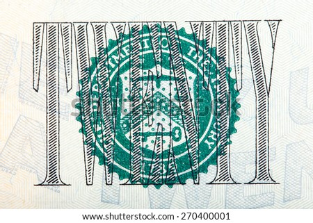 The Seal on the U.S. $20 dollar bill on macro. - stock photo