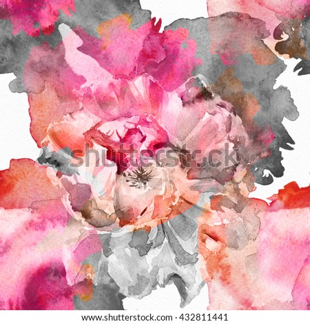 The seamless exotic background drawn  water color paints. Picturesque drawing brush.Watercolor background. Tropical drawing fabric.Color llustration  flowers iwatercolor paintings  Rose,  - stock photo