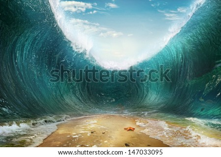 The seas are being parted  - stock photo