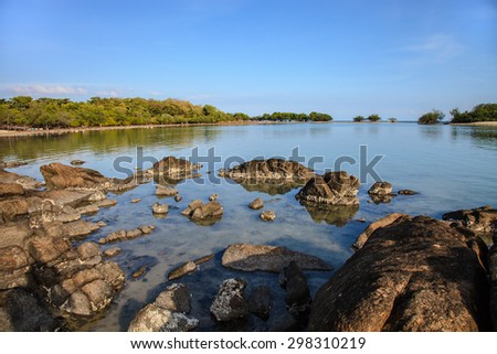 The seascape of coral rock beach at Koh samui island, Thailand - stock photo