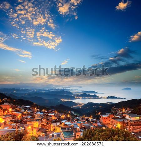 The seaside mountain town scenery in Jiufen, Taiwan - stock photo