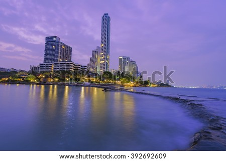 The seaside town and landscape lighting and a beautiful beach at Pattaya . - stock photo