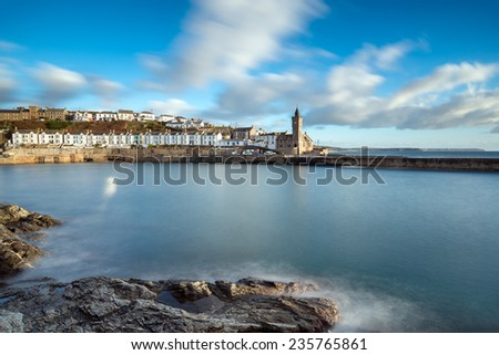 The seaside town of Porthleven near Helston in Cornwall - stock photo
