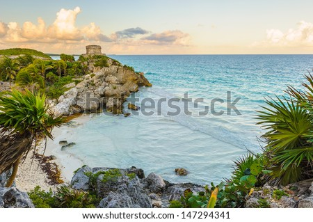 The seaside view of the Castle at Tulum, Atlantic Ocean,  Mexico, Yutacan - stock photo