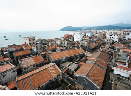the seaside village in China - stock photo