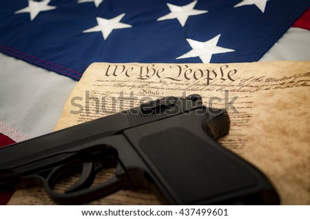The Second Amendment to the United States Constitution protects the right of the people to keep and bear arms and was adopted as part of the first ten amendments contained in the Bill of Rights - stock photo